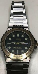 【送料無料】腕時計 ダイバークォーツカレンダーウォッチベゼルステンレスmen's telux diver watch quartz calendar wristwatch rotating bezel stainless st