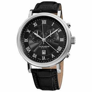 【送料無料】腕時計 メンズレザーストラップスイスコレクションクロノグラフウォッチ akribos xxiv ak591bk mens leather strap swiss collection chronograph watch