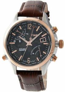 【送料無料】腕時計 インテリジェントクオーツメンズブラウンレザーウォッチストラップtimex t2n942 intelligent quartz mens world time watch brown leather strap