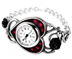 【送料無料】腕時計 ハートブラックローズゴシックバラベッド