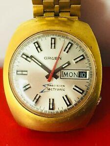 【送料無料】腕時計 ゴールドトーンウォッチgruen precision electronic day date gold tone watch