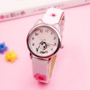 【送料無料】腕時計 パターンキッズピンクレザーストラップウォッチクオーツアナログラウンドバックル