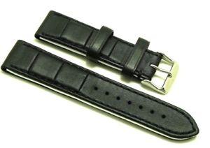 【送料無料】腕時計 ミリブラックホワイトレザーメンズウォッチストラップステンレススチールバックル