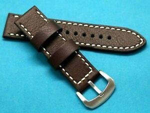 【送料無料】腕時計 ホワイトステッチウォッチストラップ22mm brown quality leather white stitched replacement watch strap invicta 22