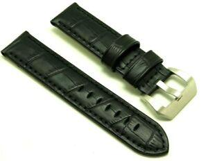 【送料無料】腕時計 ミリブラックエンボスレザーストラップメンズウォッチプレバックル