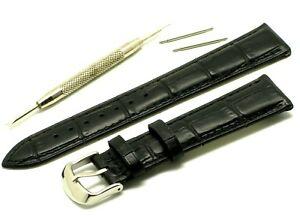 【送料無料】腕時計 ミリブラックツールレザーウォッチストラップシルバートーンバックルエンボス