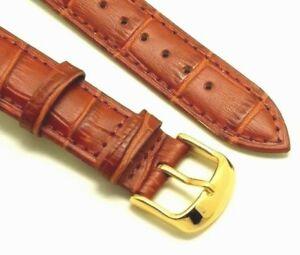 【送料無料】腕時計 ブラウンクロコダイルウォッチストラップゴールドメッキバックルエンボスフィット