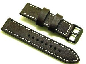 【送料無料】腕時計 コントラストステッチウォッチストラップブラック