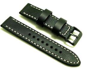 【送料無料】腕時計 ミリブラックホワイトレザーウォッチストラップスチール