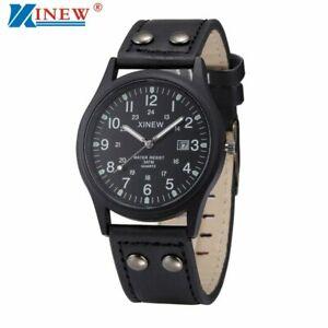 【送料無料】腕時計 レザーストラップクラシックカレンダーミリタリーウォッチミー