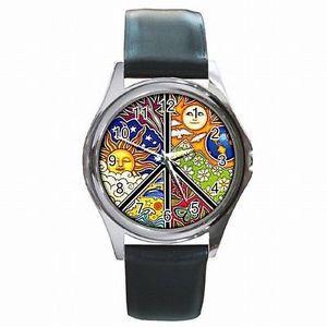 【送料無料】腕時計 ピースサインシンボルアクセサリpeace sign symbol sixties antiwar accessory leather watch