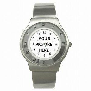 【送料無料】腕時計 ステンレスロゴスチールメンズスポーツカスタムパーソナライズstainless steel mens sport watch custom personalized your picture photo logo