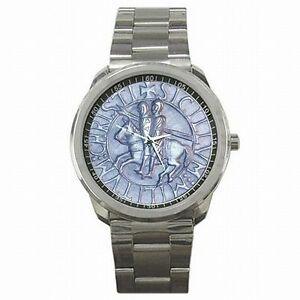 【送料無料】腕時計 テンプルシールステンレススチールウォッチtemplar knights holy cross medieval seal stainless steel watch