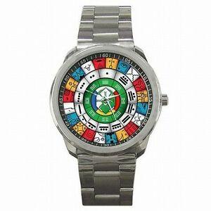 【送料無料】腕時計 メキシコマヤカレンダーステンレススチールウォッチmayan calendar ancient mexico stainless steel watch