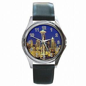 【送料無料】腕時計 スペースニードルタワーシアトルワシントンspace needle tower seattle wa souvenir picture leather watch