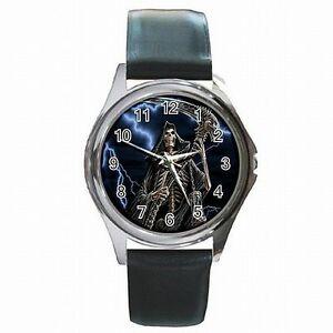 【送料無料】腕時計 スケルトンハロウィーンgrim reaper skeleton halloween leather watch
