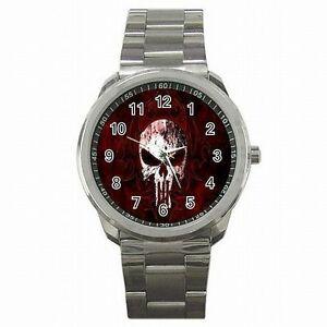 【送料無料】腕時計 スカルプレデターステンレススチールウォッチskull predator punisher stainless steel watch
