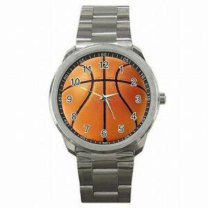 【送料無料】腕時計 バスケットボールフープファンステンレススチールウォッチbasketball player nba hoops fan stainless steel watch