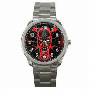 【送料無料】腕時計 アクセサリステンレススチールウォッチskull tribal blood emo accessory stainless steel watch