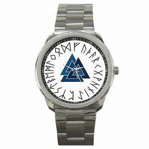 【送料無料】腕時計 ステンレススチールウォッチvalknut triangles asatru norse pagan triangle stainless steel watch