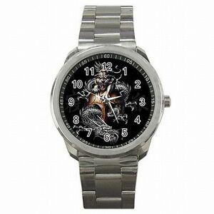 【送料無料】腕時計 タイガードラゴンステンレススチールウォッチyin yang tiger dragon taoism design stainless steel watch