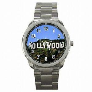 【送料無料】腕時計 ハリウッドヒルズカリフォルニアムービーステンレススチールサインウォッチhollywood hills sign california movie souvenir stainless steel watch