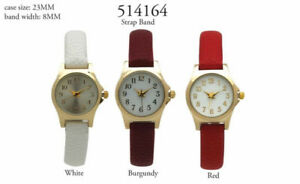 【送料無料】腕時計 レザーストラップレディースラウンドウォッチ ladies round numeral thin leather strap wrist watch
