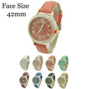 【送料無料】腕時計 ジュネーブプラチナローマレザーウォッチgeneva platinum 4 row cz roman numeral leather watch 42mm