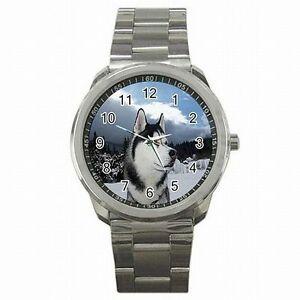 【送料無料】腕時計 シベリアンハスキーアラスカスレッドアクセサリーステンレススチールウォッチsiberian husky alaskan sled dog accessory stainless steel watch
