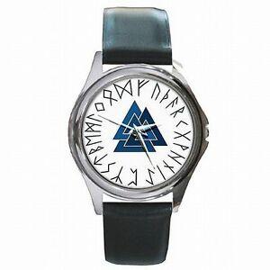 【送料無料】腕時計 valknut triangles asatru norse pagan triangle leather watch