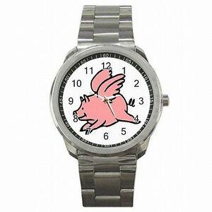 【送料無料】腕時計 ブタブタステンレススチールflying pig when pigs fly stainless steel watch