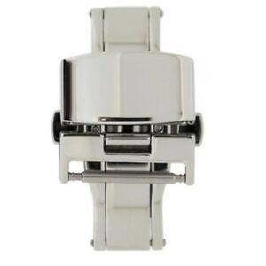 【送料無料】腕時計 ステンレススチールボタンプッシュクラスプpolished stainless steel pushbutton butterfly deployment clasp