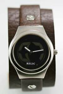 【送料無料】腕時計 ステンレススチールブラウンレザークォーツシルバービッグチックrelic watch men big tic water resis stainless silver steel brown leather quartz