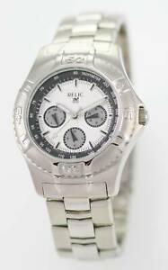 【送料無料】腕時計 ステンレススチールシルバークォーツバッテリーウォッチrelic white mens all stainless steel silver day date 24hr quartz battery watch