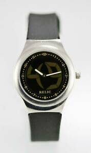 【送料無料】腕時計 ビッグステンレススチールシルバーブラックラバークォーツレジスト