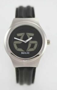 【送料無料】腕時計 ステンレススチールシルバーブラックレザークォーツ