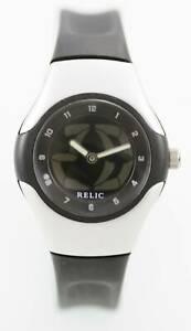【送料無料】腕時計 プラスチックシルバーブラックラバークォーツバッテリーウォッチ