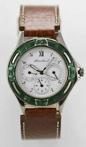 【送料無料】腕時計 エディーバウアーステンレスシルバーブラウンレザーホワイトクォーツeddie bauer watch men day date 24hr stainless silver brown leather white quartz
