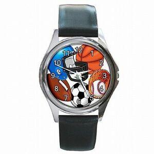 【送料無料】腕時計 スポーツファンサッカーバスケットボールsports fan varsity football basketball baseball player leather watch