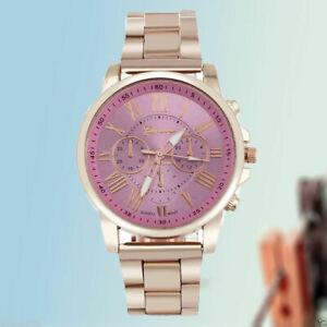 【送料無料】腕時計 メンズステンレススチールアナログクォーツジュネーブローマmens geneva luxury roman number stainless steel analog quartz dress wrist watch