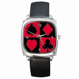 【送料無料】腕時計 カードポーカープレーヤーレザースクエアウォッチスーツcard suits poker player leather square watch