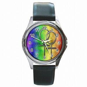 【送料無料】腕時計 ゲイレズビアンプライドパレードアクセサリgay lesbian pride lgbt parade rainbow accessory leather watch