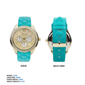 【送料無料】腕時計 ジュネーブプラチナキルトレザークロノウォッチgeneva platinum quilted leather mop chrono cz watch 44mm