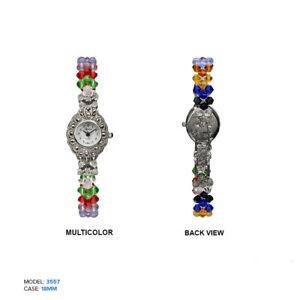 【送料無料】腕時計 ジュネーブレディースマルチカラービーズクリスタル geneva ladies multicolor beaded crystal watch 18mm