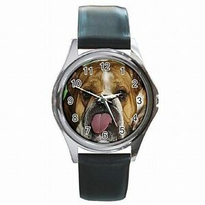【送料無料】腕時計 ブルドッグアクセサリーenglish bulldog funny puppy dog accessory leather watch