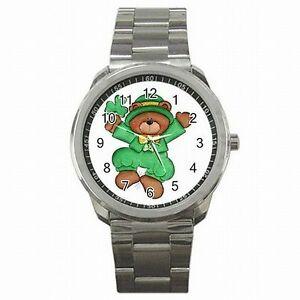 【送料無料】腕時計 セントパトリックスデーベアクローバーアイリッシュステンレススチールウォッチ