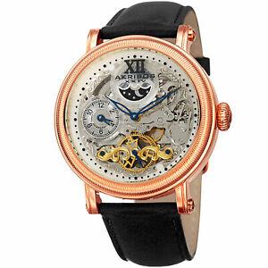 【送料無料】腕時計 デュアルタイムスケルトンブラックレザーウォッチ