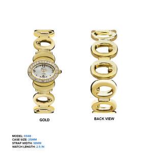 【送料無料】腕時計 ジュネーブプラチナレディースリンクチェーン geneva platinum ladies rhinestones link chain oval wrist watch 25mm