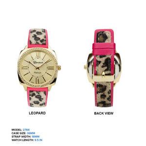 【送料無料】腕時計 ジュネーブプラチナレディースストラップ geneva platinum ladies rhinestones leopard print strap wrist watch 36mm