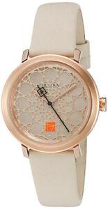 【送料無料】腕時計 フランクロイドライトステンレススチールホワイトレザーウォッチbulova womens frank lloyd wright stainless steelwhite leather watch 98l216